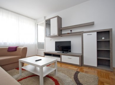 Furnished, 1-bedroom apartment (58m2) with a balcony and a parking space
