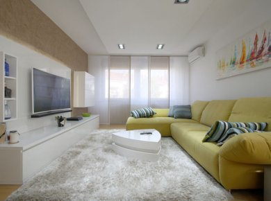 Newly furnished, 2-bedroom apt (75m2) with a garage